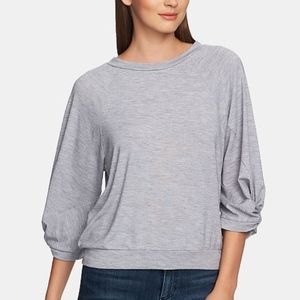 NWT 1. State gray rushed sleeves sweater